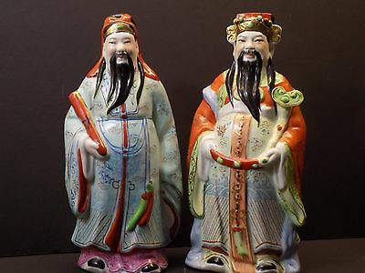 """Early 20th Century Chinese Famille Rose Porcelain Immortals 9"""" Statues Marked"""