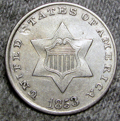 1853 Silver Three Cent Piece 3cp----   TYPE COIN ---- #M074