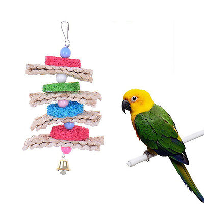 Parrot Pet Bird Cage Hang Toys Wood Large Ball Bells Chew Bite Natural Straw Toy