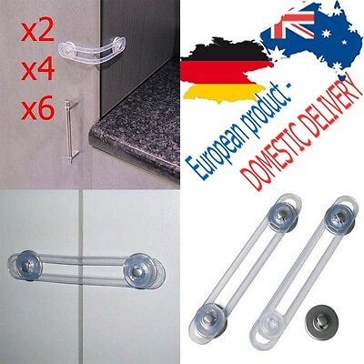 SET: x2 x4 x6 MULTI PURPOSE LOCK Drawer Latch Transparent SAFETY Fridge Cabinet
