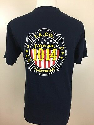 Los Angeles County Firefighters Local 1044 IAFF Blue T-Shirt Medium LACoFD EUC