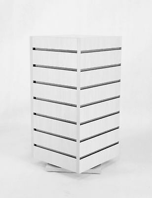 4-Sided Slatwall Counter Spinner White Display Rack Giftware Merchandiser Stand