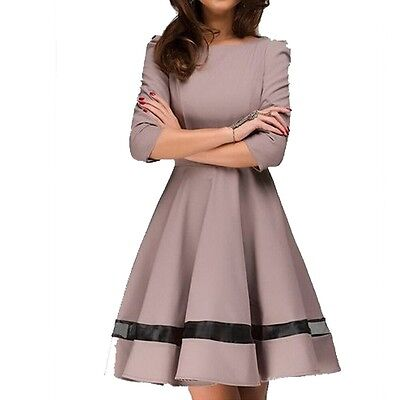 Summer Women Long Sleeves Casual Party Evening Cocktail Short Mini Dress XL US