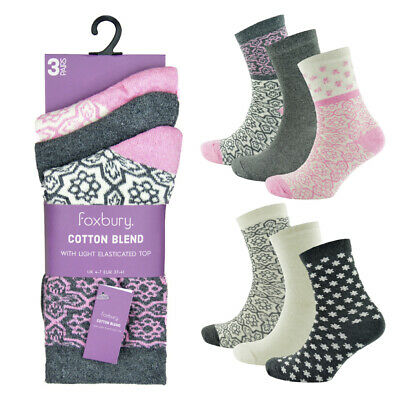 6 Pairs Of Ladies Fairisle Socks, Soft Chunky Cotton Rich Ankle Socks, Size 4-7