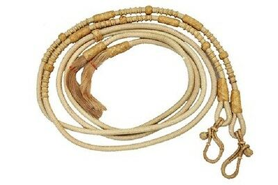Western Nylon Rawhide Braided Romel Reins with Natural Rawhide Knots/Tassel