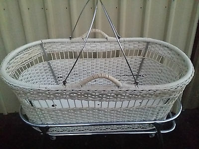 Vintage White Stork Baby Bassinette Moses Basket and Stand on wheels