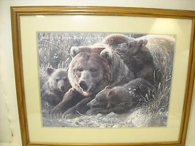 "Vintage Mother Grizzly Bear W/ Cubs Print Picture Matted & Wood Frame 31"" X 25"""