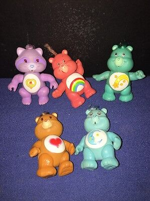 Lot of 5 Care Bears & Raccoon Cousin Poseable Figures Vintage 1983-1985 Kenner