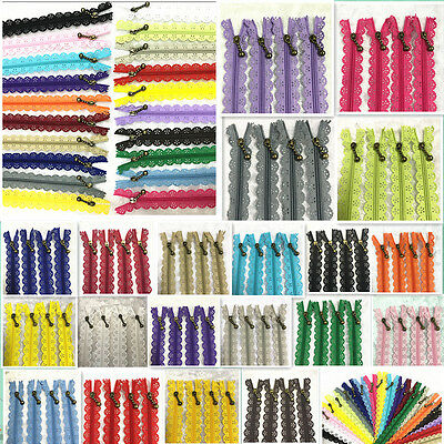 5-100pcs 40cm Lace Closed End Zippers 3# Nylon For Purse Bags Multicolor Sewing~
