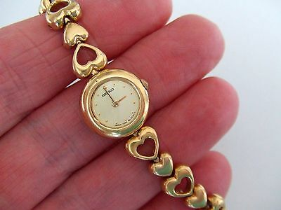 Ladies Gold Plated Seiko Watch with Heart Link Bracelet
