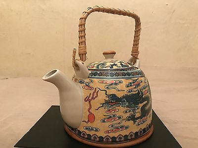 Antique Chinese Tea Pot With Infuser Dragon Painted Chinese Marks