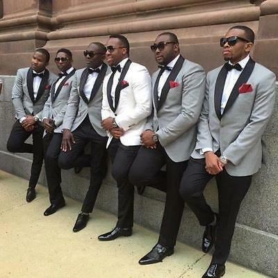 Groom Tuxedo Slim Fit White/Light Grey Mens Tuxedos With Black Lapel Men Suits