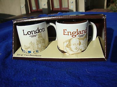 New Starbucks Global Icon LONDON ENGLAND 3 oz Demitasse 2-Mug Set
