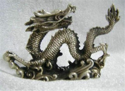Asian Chinese tibet silver Carved dragon shape Collect Decoration Statue @2201