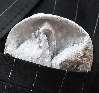 Hankie Pocket Square Handkerchief Silver with Glitter Silver