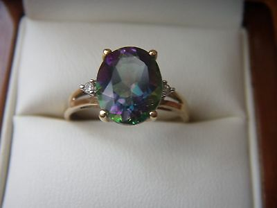 Mystic topaz 9ct yellow gold ring size P