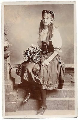 Young Lady Posed With Basket Of Flowers Old Fashion Glamour Photo Postcard