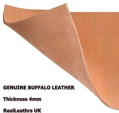 LEATHER BUFFALO LEATHER SHEET LIGHT BROWN 4mm THICKNESS -FOR LEATHER CRAFTS