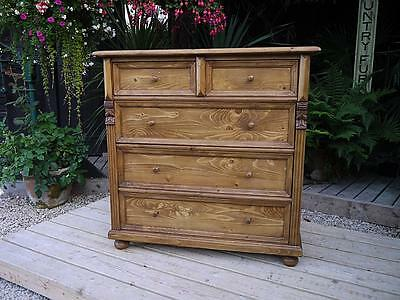 Lovely! Old Stripped Antique Pine Chest Of Drawers. Restored! Superb!