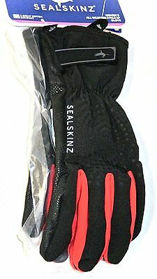 Sealskinz Womens All Weather Cycle XP Waterproof Gloves Black/Red Size Large NEW
