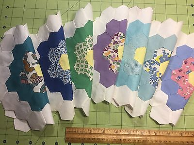 41 Vintage Cotton Fabric 30s40s Grandmas Garden Quilt Blocks Hand Stitched