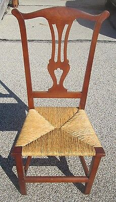CHIPPENDALE KITTERY MAINE ANTIQUE CHERRY CHAIR W/RUSH SEAT CIRCA 1700s YOKE BACK