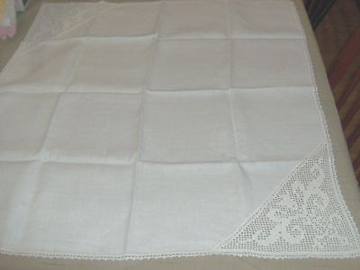 Vintage small white linen square tablecloth with 2 crocheted corners -4 napkins
