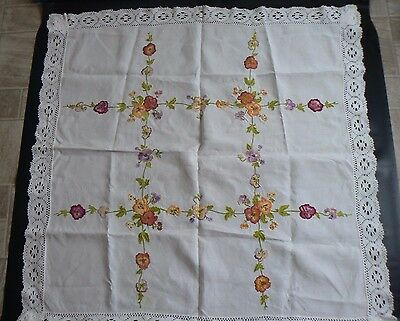 Vintage Hand Embroidery Floral Lace Tablecloth Size 38 x 39 inches