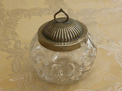 Vintage Silver Plate & Cut Glass Conserve Pot With Reed Pattern   #1260885/887