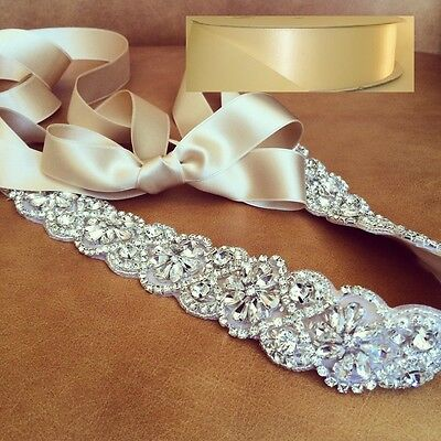 "Wedding Sash Belt, Bridal Sash Belt- Crystal Sash Belt = 19"" long in IVORY sash"