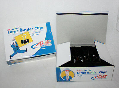 36 LARGE BINDER CLIPS - 3 Boxes New 2 Inch Clip OneSolution Office Supplies