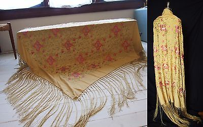 Antique Dress Canton Fringed Silk Embroidered Piano Shawl Manton 10s  20s