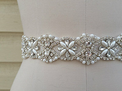 "Wedding Dress Bridal Sash Belt - Pearl Crystal Wedding Sash Belt = 18"" long"