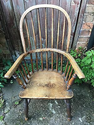 Antique Victorian Windsor Spindle Back Ash and Elm Armchair Farmhouse Chair