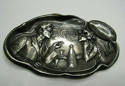 Sterling Silver Vintage Ash Tray Man Woman Fancy Dinner Smoking Rugby Football