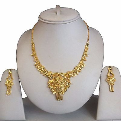 Gold Replica Indian Bollywood Costume Jewellery Necklace Earrings Set Bridal New