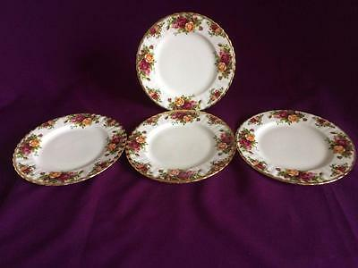 Four Royal Albert Old Country Roses Bone China Salad / Dessert / Cake Plates