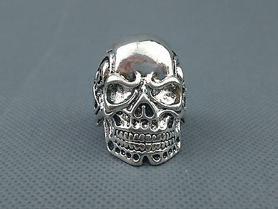 China Handwork Miao Silver Carve Evil Human Skeleton Unique Rare Fashion Ring