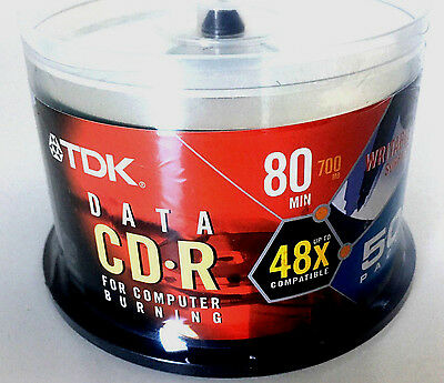 TDK CD-R For Computer Burning 50-Pack 80min 700mb Blank CDs