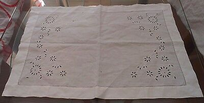 Vintage White Cotton Cut Work Small Tablecloth / Runner / Tray Cloth