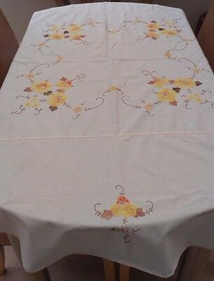 "Vintage White Cotton And Embroidered Applique Floral Tablecloth ~ 66"" X 64"""