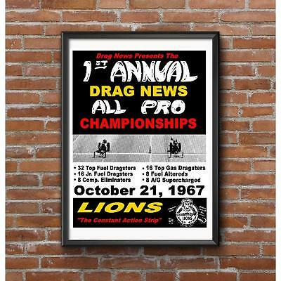 Lions Drag Strip Drag News Championships 1967 Event Poster