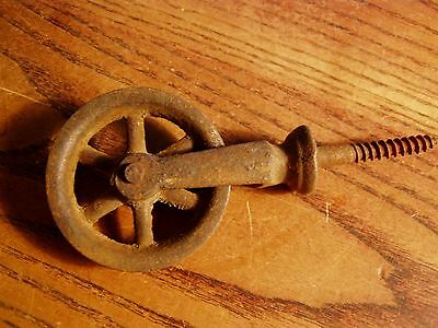 Vintage Small Cast Iron Barn Wheel  2  INCH Pulley Screw In Type