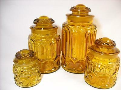 Vintage Amber L E Smith Moon And Stars 8 Piece Glass Canister Set Apothecary Jar