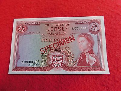1963 The State Of Jersey Five 5 Pounds Specimen Banknote RARE