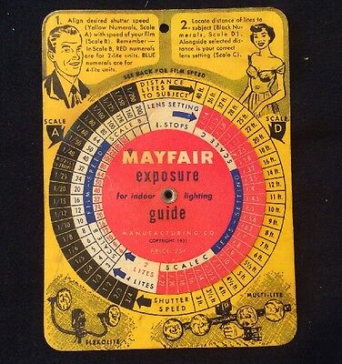 Vintage 1950's Mayfair Exposure Guide Calculator Lighting Photography