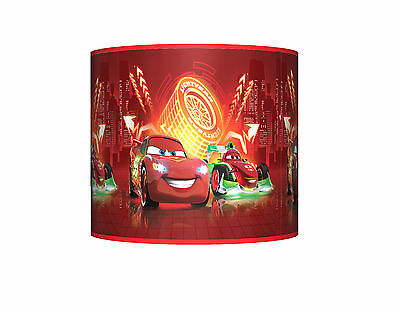 """Cars Neon ☆ 10"""" Drum Ceiling Lampshade ☆ Boys Bedroom Lamp Shade ☆ Matches Duvet"""