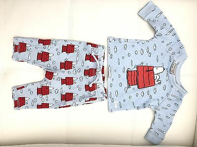 Peter Alexander Baby Pyjamas Set Snoopy Size 000 For 3-6 Months