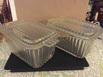 Vintage Lot Of 2 Clear Glass Ribbed Refrigerator Storage Boxes W/ Lids Stackable