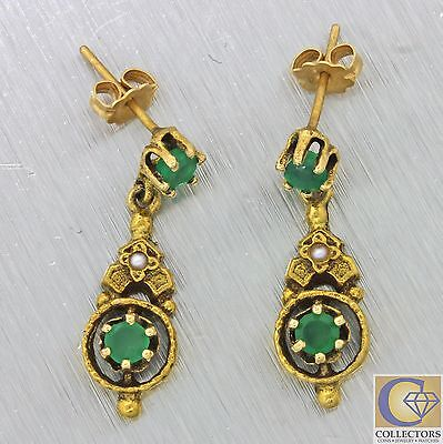 Vintage Antique Victorian Style 14k Solid Gold .80ctw Emerald Pearl Earrings